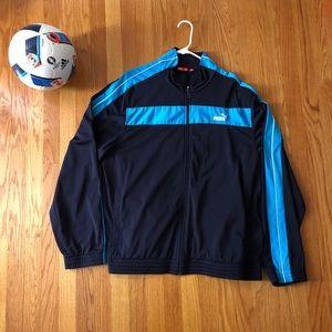 Black/Blue Puma Track Jacket, XL, EUC